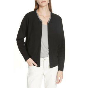 Eileen Fisher Zip Front Reversible Cardigan Black